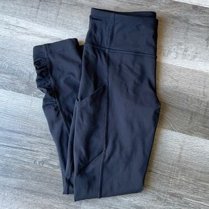 Lululemon Running Cropped Leggings Pockets Mesh